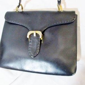 Vintage Leather Handbag Purse FLAP Bag Stitched